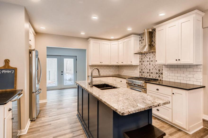 Kitchen featuring Urbanfloor Cascade SPC Flooring